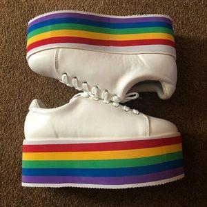 NEW Hot Topic Rainbow Sole Platform Sneakers,  10